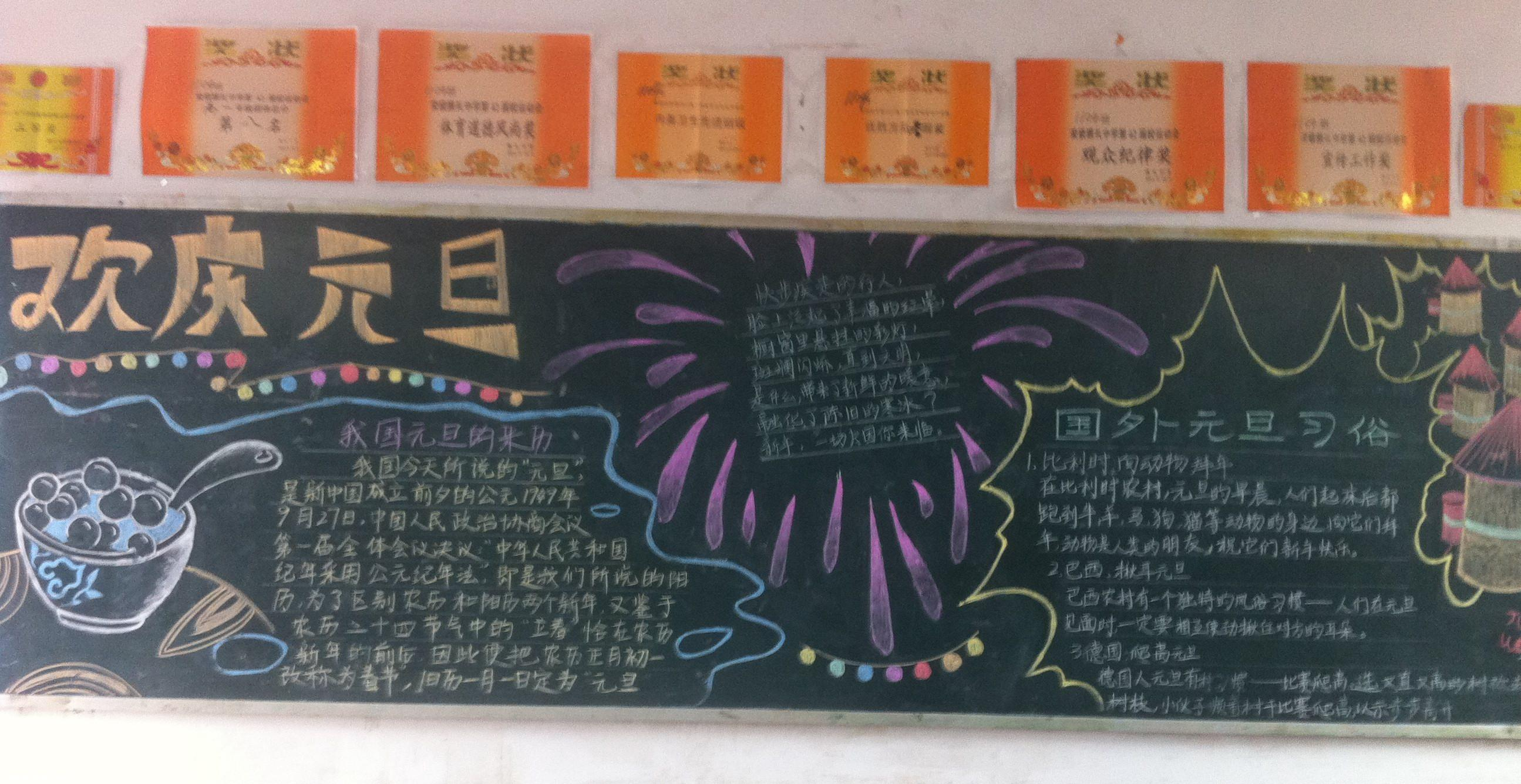 庆祝元旦的黑板报