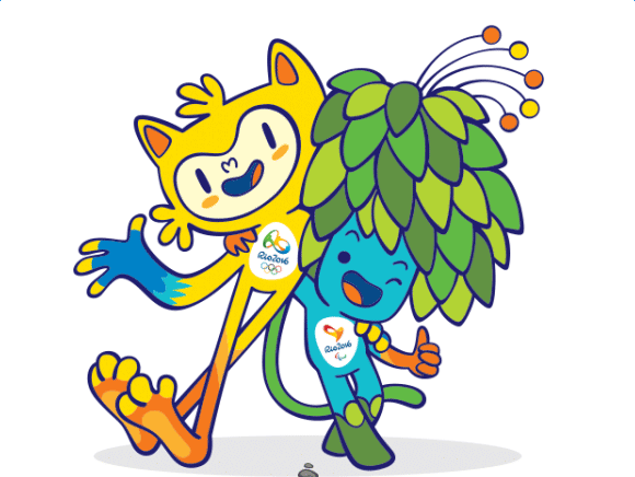 黄色的里约奥运吉祥物代表巴西的动物