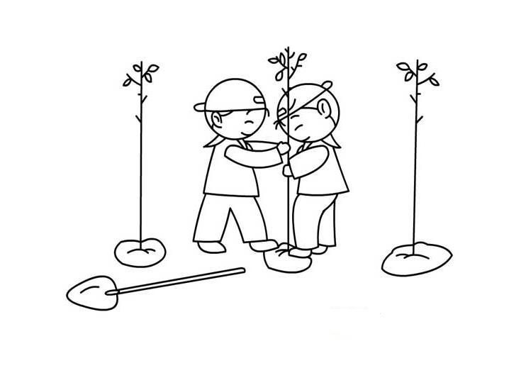 植树节简笔画图片大全