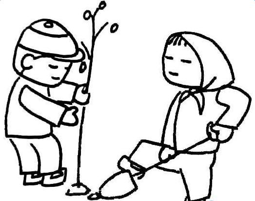 植树节花边简笔画