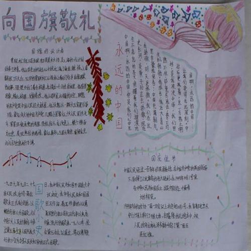 小学生手抄报向国旗敬礼的图片图片