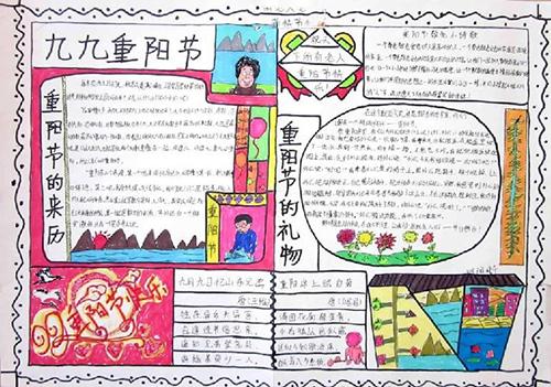 中学生获奖重阳节手抄报图片大全图片