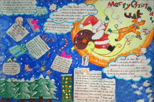 圣诞节英语手抄报版面设计图(简单又漂亮)