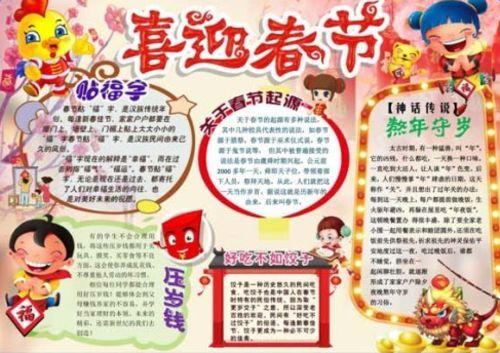 春节手抄报简单又漂亮