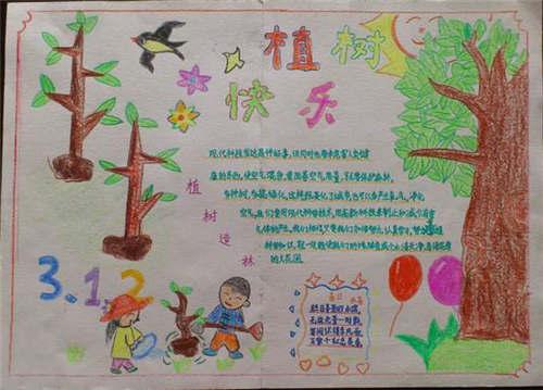 3.12植树节手抄报内容 植树节手抄报简笔画