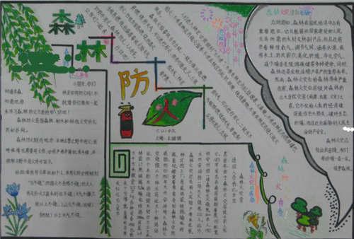 小学生森林防火手抄报图片
