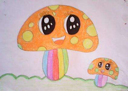 可爱的大蘑菇儿童画