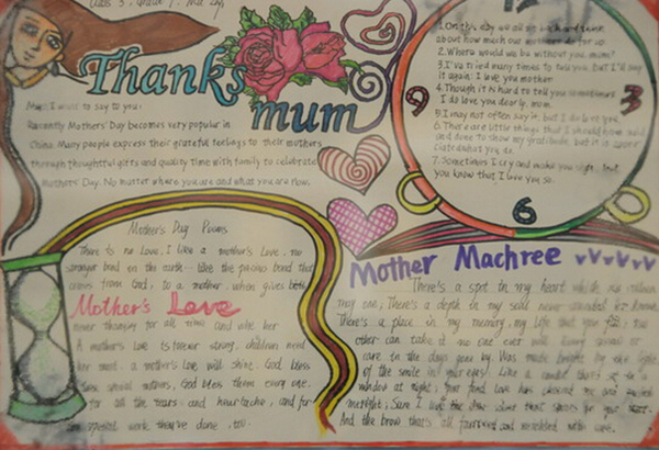 关于母亲节的英语手抄报图片