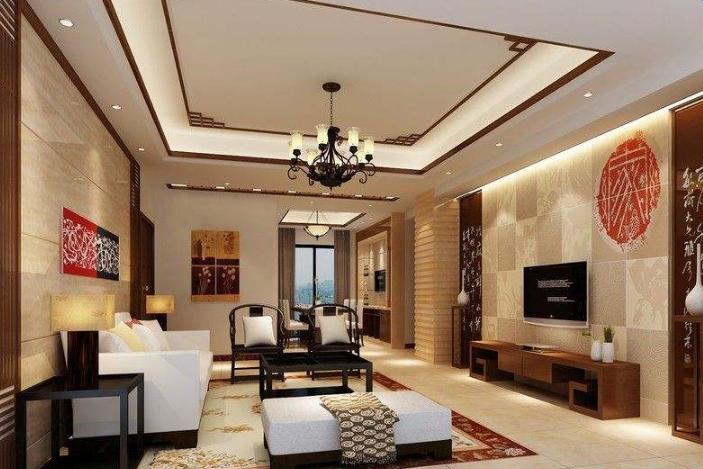 現代中式家裝效果圖_現代居室中新古典中式裝修客廳效果圖