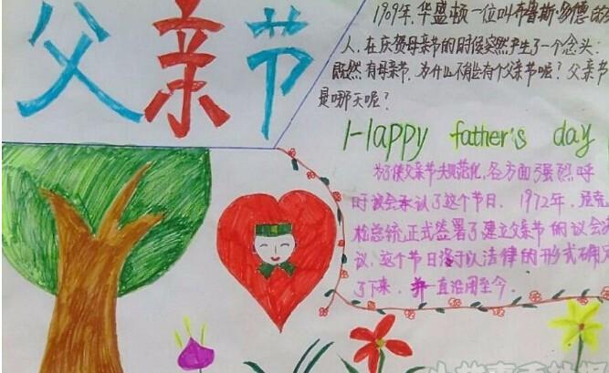 一年级父亲节手抄报图片简单又漂亮3   中国节日起源   父亲节并非泊来的节日,中国也有自己的父亲节,中国的父亲节起源,要追溯到民国时期,1945年8月8日,上海发起了庆祝父亲节的活动,市民立即响应,抗日战争胜利后,上海市各界名流,联名请上海市政府转呈中央政府,定爸爸 谐音的8月8日为全国性的父亲节,在父亲节这天,人们佩带鲜花,表达对父亲的敬重和思念。   父亲节这天,我们在思考、我们在表达对父母的敬爱之心是无可比拟的,当母亲含辛茹苦地照顾我们时,父亲也在努力地扮演着上苍所赋予他的负重角色,当我们